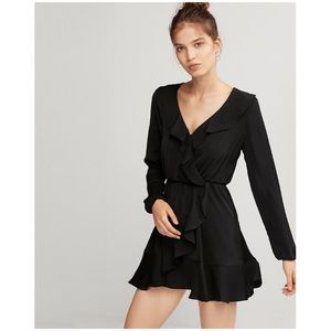 Express ruffle front mini wrap dress - black